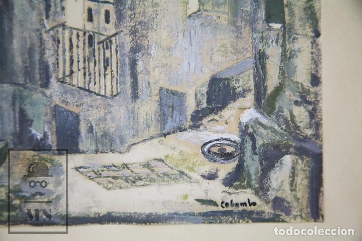 Arte: Pintura con Gouache Sobre Papel - Calle de Ciudad, Firmada Colombo - Medidas 38 x 42,5 cm - Foto 4 - 93326415
