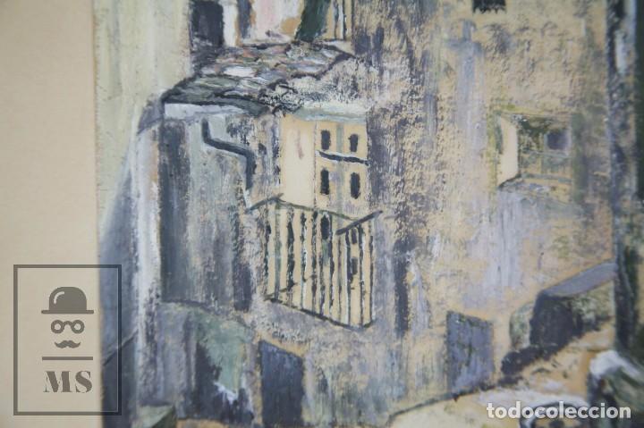 Arte: Pintura con Gouache Sobre Papel - Calle de Ciudad, Firmada Colombo - Medidas 38 x 42,5 cm - Foto 5 - 93326415