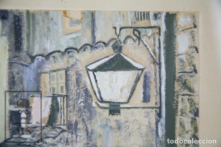 Arte: Pintura con Gouache Sobre Papel - Calle de Ciudad, Firmada Colombo - Medidas 38 x 42,5 cm - Foto 6 - 93326415