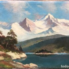 Arte: LEONARDO DUDREVILLE (1885-1976) PINTOR ITALIANO - ÓLEO SOBRE TELA - PAISAJE MONTAÑOSO. Lote 93407055
