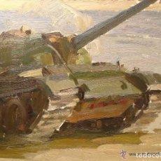 Arte: OLEO TANQUE T-62 CRUZANDO EL RIO. V.M. CHERNIKOV. PINTURA IMPRESIONISTA SOVIETICA.. Lote 93414940