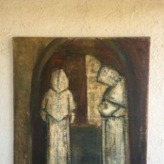 Arte: CUADRO OLEO SOBRE LIENZO ARPILLERA GRAN TAMAÑO MONJES 1960 SIN FIRMA 94X106,5CM. Lote 93582595