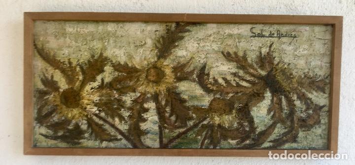 CUADRO OLEO SOBRE TABLA GIRASOLES MARCO MADERA RUSTICA SOL DE ANDRES 1960 ESCUELA GUTIERREZ NAVAS (Arte - Pintura - Pintura al Óleo Contemporánea )