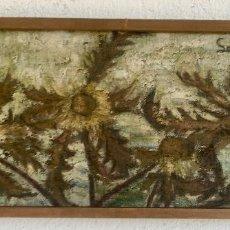 Arte: CUADRO OLEO SOBRE TABLA GIRASOLES MARCO MADERA RUSTICA SOL DE ANDRES 1960 ESCUELA GUTIERREZ NAVAS . Lote 93599075