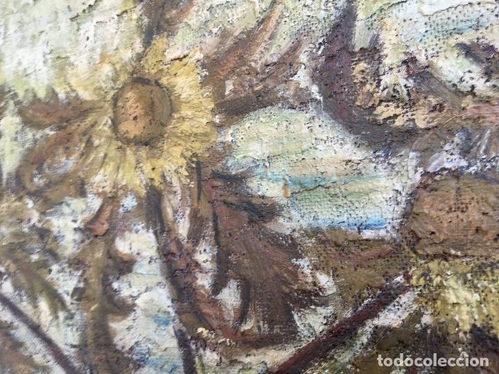 Arte: Cuadro oleo sobre tabla girasoles marco madera rustica sol de Andres 1960 escuela gutierrez navas - Foto 4 - 93599075