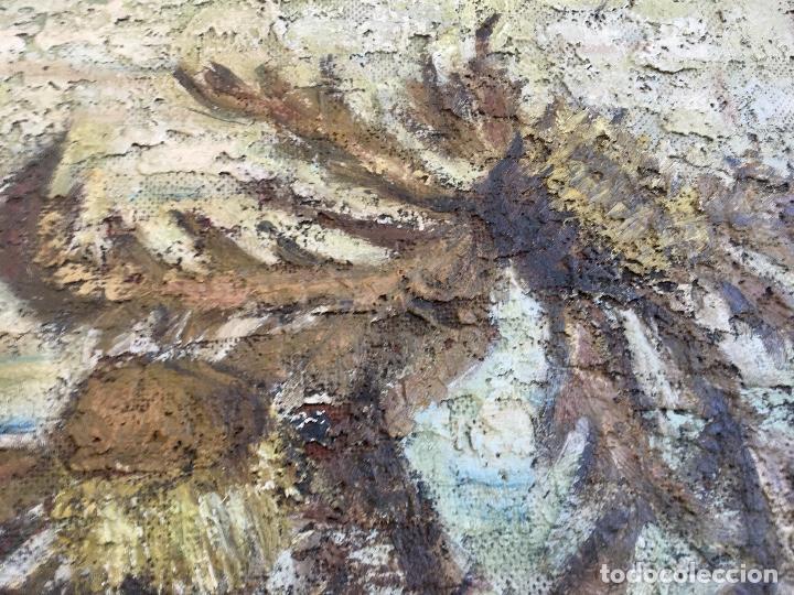 Arte: Cuadro oleo sobre tabla girasoles marco madera rustica sol de Andres 1960 escuela gutierrez navas - Foto 5 - 93599075