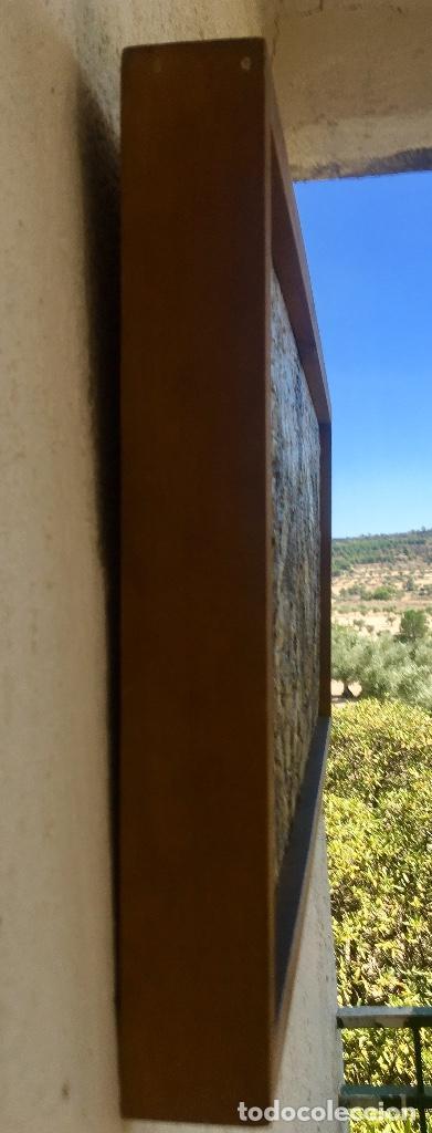 Arte: Cuadro oleo sobre tabla girasoles marco madera rustica sol de Andres 1960 escuela gutierrez navas - Foto 6 - 93599075