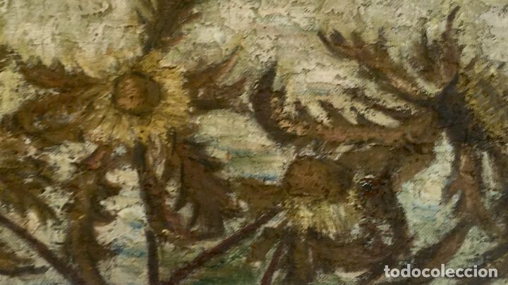 Arte: Cuadro oleo sobre tabla girasoles marco madera rustica sol de Andres 1960 escuela gutierrez navas - Foto 9 - 93599075
