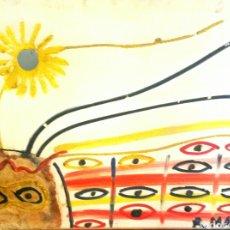 Arte: EQUIPO COBRA. ROLAND MASSA,1943 (SAINT NICOLÁS, BÉLGICA ) FIGURA Y SOL (TEC.MIXTA /LIENZO) 54 X 73. Lote 93623542