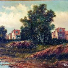 Arte: PAISAJE CON MOLINOS. ÓLEO SOBRE LIENZO. FIRMADO F(FRANCISCO?) BLASCO. ESPAÑA. CIRCA 1850. Lote 93678830