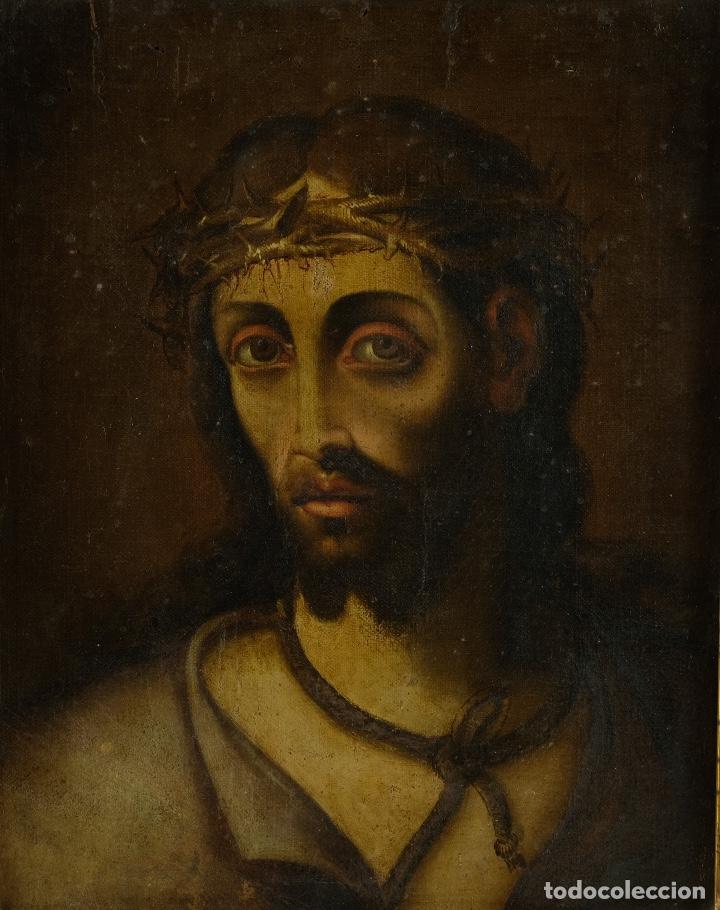 ÓLEO SOBRE LIENZO ECCE HOMO ESCUELA COLONIAL SIGLO XVIII (Arte - Pintura - Pintura al Óleo Antigua siglo XVIII)