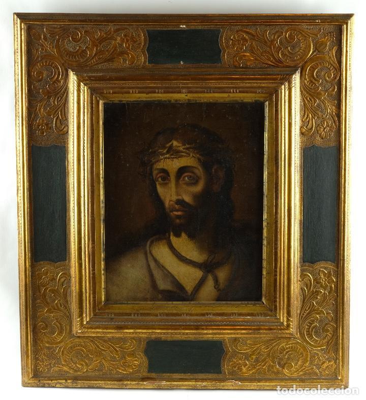 Arte: óleo sobre lienzo Ecce Homo escuela colonial siglo XVIII - Foto 2 - 93685790