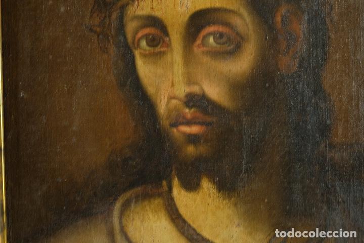 Arte: óleo sobre lienzo Ecce Homo escuela colonial siglo XVIII - Foto 4 - 93685790
