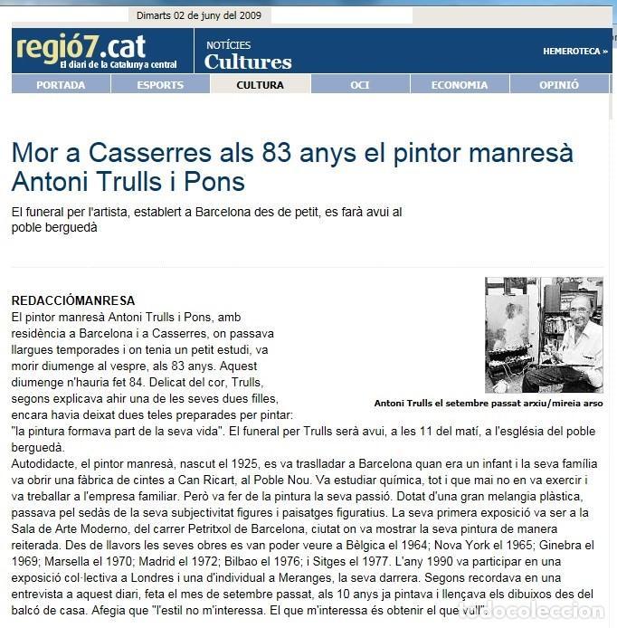 Arte: ANTONI TRULLS PONS - OLEO SOBRE TELA - ENMARCADO 35 X 30 - Foto 3 - 93747875