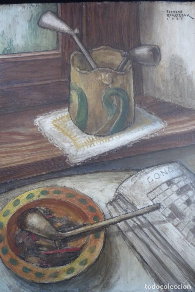 Arte: FERNAND ROUSSEAUX. PINTOR-ESCULTOR 1892-1971. BODEGON CUBISTA 1925. OLEO SOBRE TABLA. OIL ON BOIS. - Foto 5 - 93763640