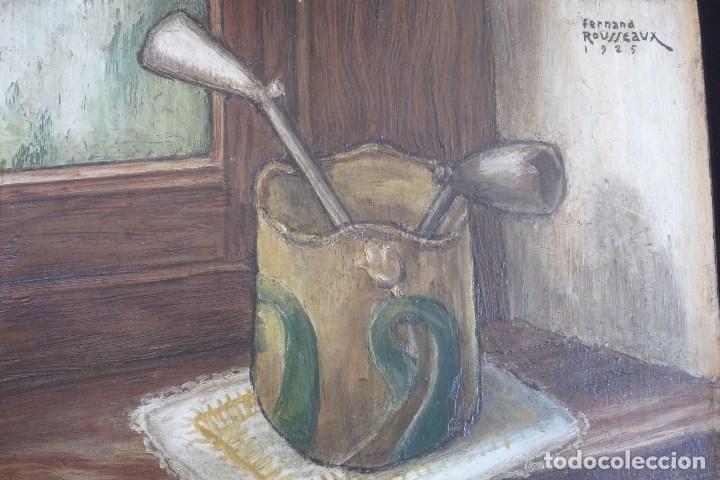 Arte: FERNAND ROUSSEAUX. PINTOR-ESCULTOR 1892-1971. BODEGON CUBISTA 1925. OLEO SOBRE TABLA. OIL ON BOIS. - Foto 8 - 93763640
