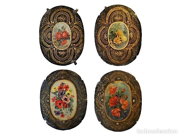 ANTIQUÍSIMAS CHAPAS PINTADAS AL ÓLEO , FLORES CON FILIGRANAS., MARAVILLOSAS, UNICAS. (Arte - Pintura - Pintura al Óleo Antigua siglo XVII)