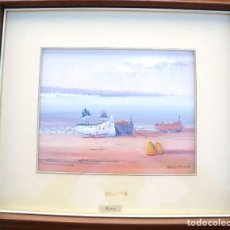 Arte: PINTURA AL OLEO DE UNA MARINA FIRMADA POR BASTIDA. Lote 94167410