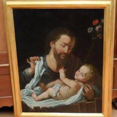 Arte: FRAY JOAQUIN JUNCOSA (CORNUDELLA, 1631-ROMA, 1708) SAN JOSE Y NIÑO. CERTIFICADO POR RAMON TRIADO. Lote 94236335