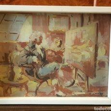 Arte: INTERESANTE PINTURA ORIGINAL ANTIGUA SOBRE CARTON FIRMADA RICHARD. Lote 94259270