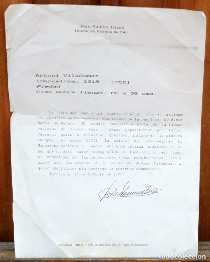 Arte: ESCUELA ESPAÑOLA SIGLO XVIII. OLEO EN TELA ARPILLERA. PIEDAD. CON INFORME DE RAMON TRIADO - Foto 9 - 94298178