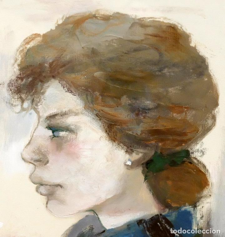 Arte: RAMON AGUILAR MORE (Barcelona, 1924 - 2015) OLEO SOBRE PAPEL. DAMA DE PERFIL - Foto 3 - 94316394