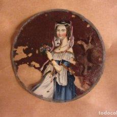 Arte: CRISTAL PINTADO CON JOVEN DAMA DEL SIGLO XIX. Lote 94325986