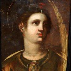 Arte: ESCUELA ESPAÑOLA DEL SIGLO XVIII. OLEO SOBRE TELA. RETRATO DE UNA SANTA. Lote 94369622