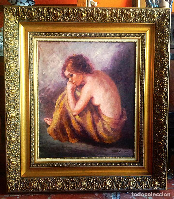 Arte: Antiguo cuadro óleo señora firmado Roser Vinardell 84 X 74CM Con Marco - Foto 3 - 57358941