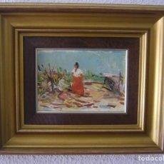 Arte: OLEO TABLA COSTUMBRISTA PAISAJE CON MUJER ANONIMO SIN FIRMA.LEER DESCRIPCION. Lote 94492202