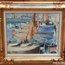 Arte: OLEGUER JUNYENT SANS (BARCELONA 1876-1958) OLEO SOBRE TELA. PUERTO DE BARCELONA. Lote 94570899