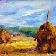 Arte: CAMPO CON PAJAR. ÓLEO SOBRE TABLEX. FIRMADO ALTADILL(?). ESPAÑA. CIRCA 1950. Lote 94661147