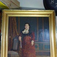 Arte: ELEGANTE RETRATO PINTADO SOBRE SOPORTE PEGADO A LIENZO DE DAMA DE LA NOBLEZA - FIRMADO SOBEJANO 1880. Lote 121980987
