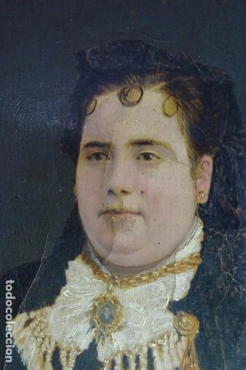 Arte: ELEGANTE RETRATO PINTADO SOBRE SOPORTE PEGADO A LIENZO DE DAMA DE LA NOBLEZA - FIRMADO SOBEJANO 1880 - Foto 3 - 121980987