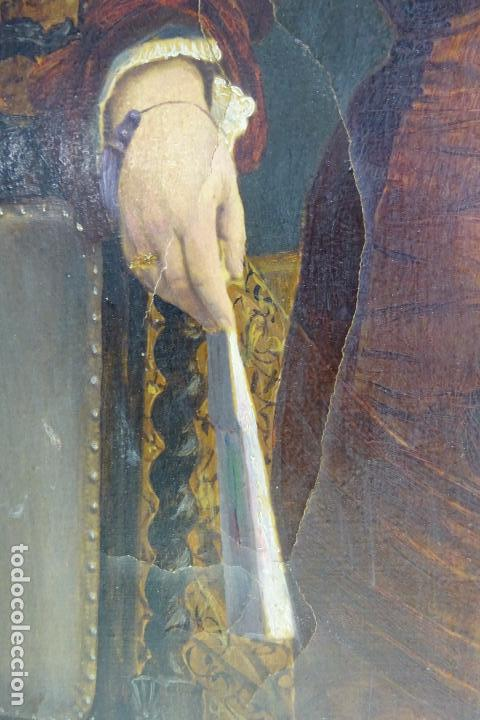 Arte: ELEGANTE RETRATO PINTADO SOBRE SOPORTE PEGADO A LIENZO DE DAMA DE LA NOBLEZA - FIRMADO SOBEJANO 1880 - Foto 5 - 121980987