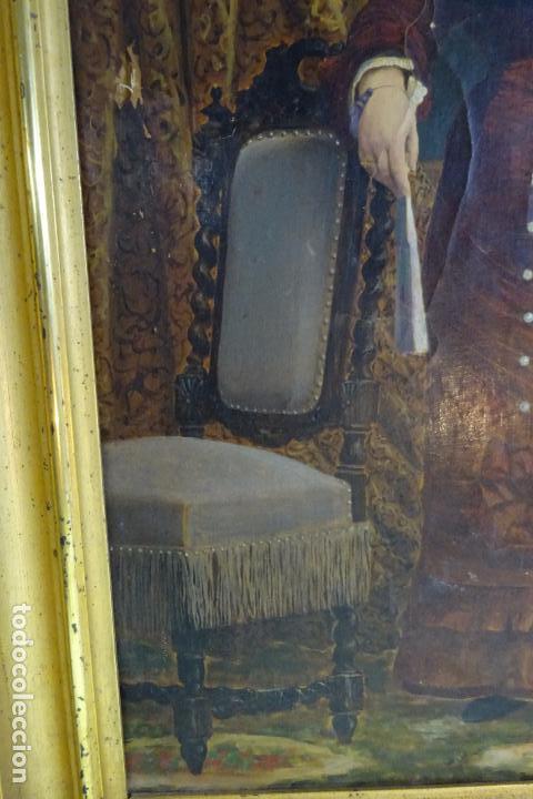 Arte: ELEGANTE RETRATO PINTADO SOBRE SOPORTE PEGADO A LIENZO DE DAMA DE LA NOBLEZA - FIRMADO SOBEJANO 1880 - Foto 6 - 121980987