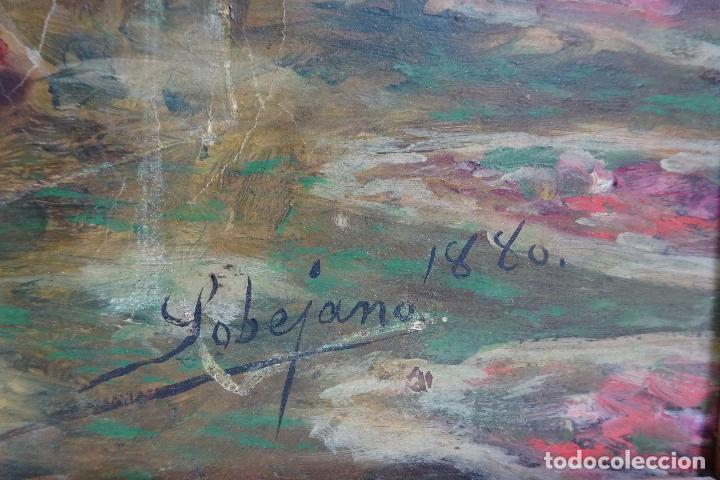 Arte: ELEGANTE RETRATO PINTADO SOBRE SOPORTE PEGADO A LIENZO DE DAMA DE LA NOBLEZA - FIRMADO SOBEJANO 1880 - Foto 7 - 121980987