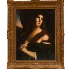 "Escuela italiana del siglo XVIII.""Magdalena penitente"". Óleo sobre lienzo."