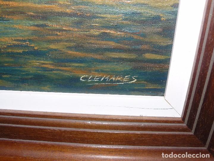 Arte: OLEO / TELA - FIRMADA CLEMARES - MARINA CREPUSCULAR - Foto 6 - 95149651