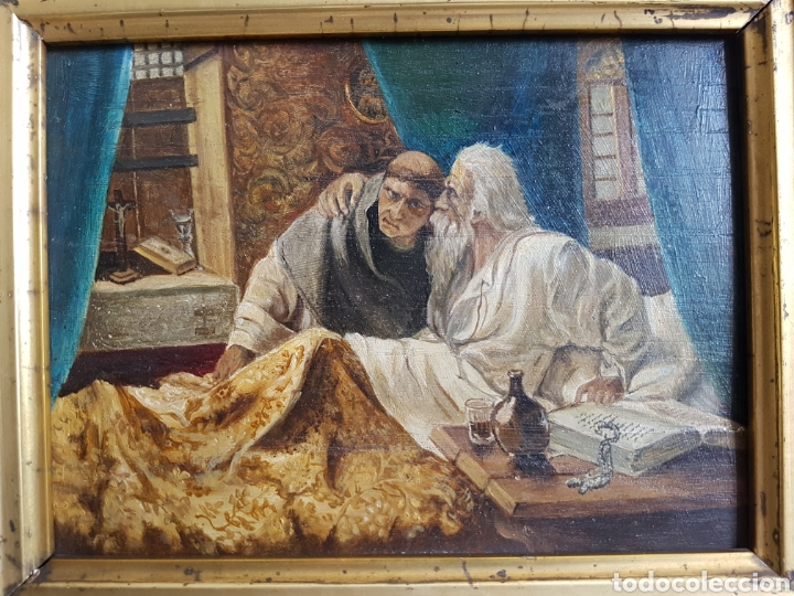Arte: ULTIMA CONFESIÓN, EXTREMAUNCIÓN. ANTIGUO OLEO CON MARCO ORO GRUÑIDO. 32x26cm - Foto 2 - 95277871