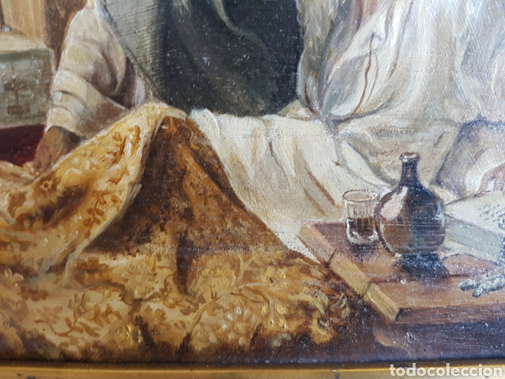 Arte: ULTIMA CONFESIÓN, EXTREMAUNCIÓN. ANTIGUO OLEO CON MARCO ORO GRUÑIDO. 32x26cm - Foto 6 - 95277871