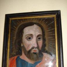 Arte: JESU CRISTO - ARTE SACRO CM 28 X 25 PINTURA ANTIQUA OLEO BAJO CRISTAL CM 22X17. Lote 95300907