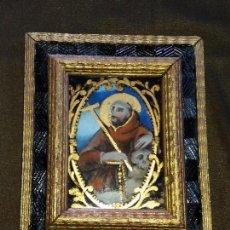 Arte: ST. FRANCESCO D'ASSISI - ARTE SACRO CM 28 X 25 PINTURA ANTIQUA OLEO BAJO CRISTAL CM 23X19. Lote 95301823