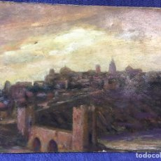 Arte: VISTA DE TOLEDO OLEO SOBRE CARTON ATARDECER NO FIRMA NO FECHA S XX 25X31,5CMS. Lote 95462999