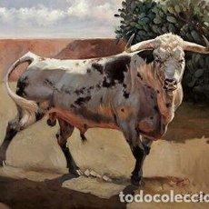 Arte: PRECIOSO TORO PINTADO POR RODRIGO BAEZ. Lote 95506495