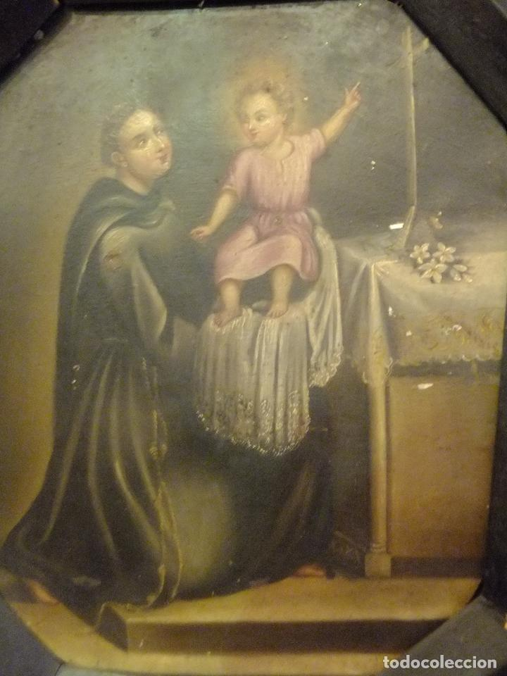 CUADRO OLEO SOBRE CHAPA SAN ANTONIO PADUA CON NIÑO S. XVIII (Arte - Pintura - Pintura al Óleo Antigua siglo XVIII)