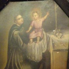 Arte: CUADRO OLEO SOBRE CHAPA SAN ANTONIO PADUA CON NIÑO S. XVIII. Lote 95576951