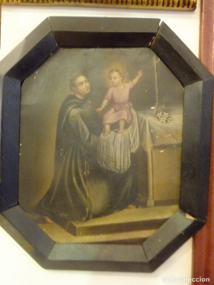 Arte: Cuadro oleo sobre chapa San Antonio Padua con Niño s. XVIII - Foto 2 - 95576951