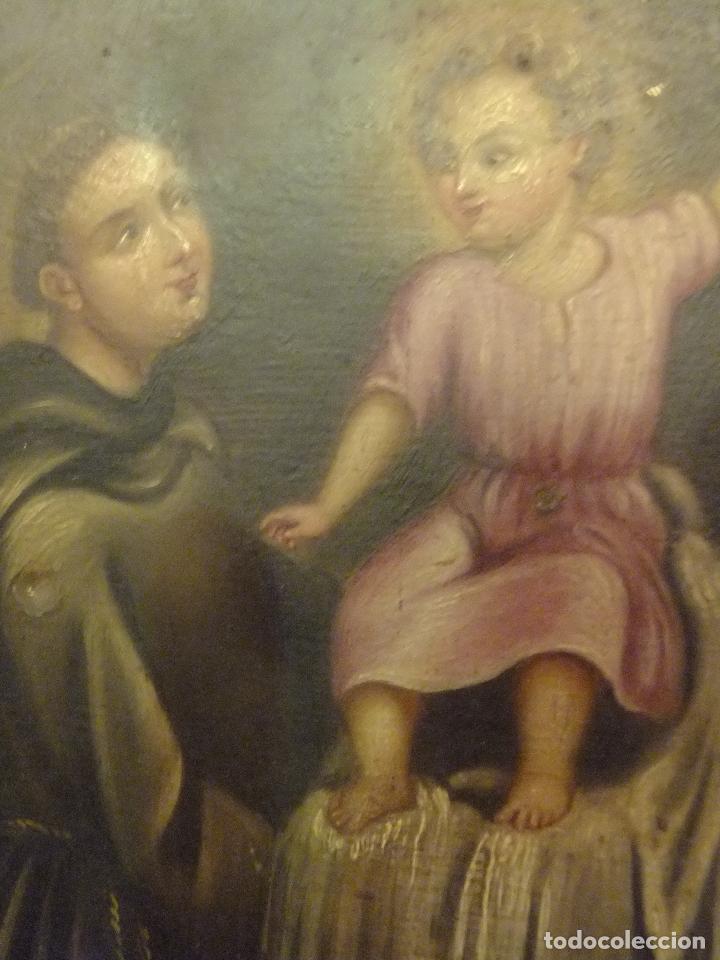 Arte: Cuadro oleo sobre chapa San Antonio Padua con Niño s. XVIII - Foto 3 - 95576951