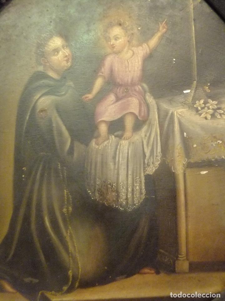 Arte: Cuadro oleo sobre chapa San Antonio Padua con Niño s. XVIII - Foto 4 - 95576951